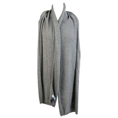 Blumarine Light Gray Knit Wrap Scarf with Rhinestones