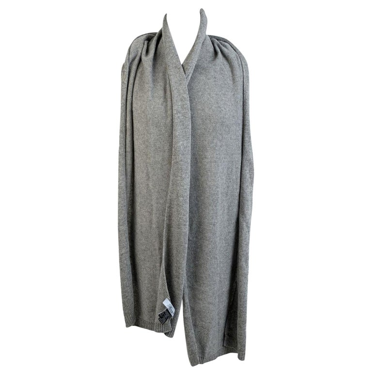 Blumarine Light Gray Knit Wrap Scarf with Rhinestones For Sale