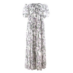 Blumarine off-the-shoulder floral silk-chiffon gown US 2