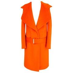 Blumarine Orange Wool Blade Long Classic Coat