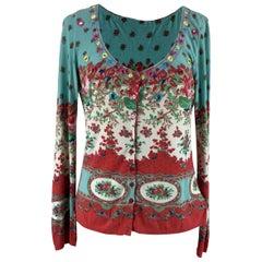 Blumarine Rayon Floral Multicolor Cardigan Size 44 IT