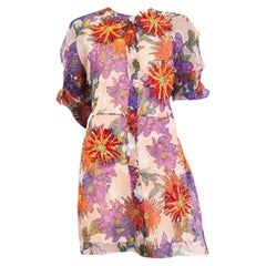 BLUMARINE red purple FLORAL silk chiffon BEADED Short Sleeve Dress XS