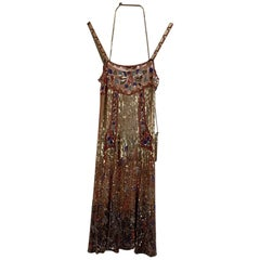 Blumarine Sequin Embellished Cami Dress Set with Bag Size 40