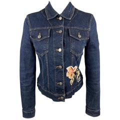 BLUMARINE Size 4 Navy Denim Flower Sequin Patch Cropped Trucker Jacket