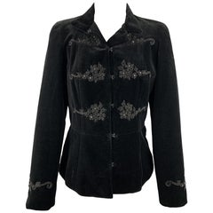 BLUMARINE Size 6 Black Embroidered Cotton Velvet Hook & Eye Jacket