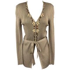 BLUMARINE Size 8 Taupe Sparkle Knit EMbellished V Neck Cardigan