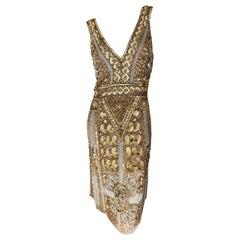 Blumarine Vintage Gold Low Cut Flapper Dress with Art Deco Pattern Sequins