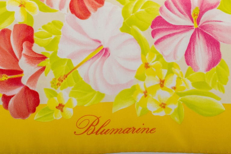 Blumarine, made in Italy, 100% silk scarf with hibiscus design. Hand rolled edges.