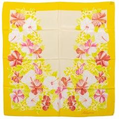 Blumarine Yellow Hibiscus Silk Scarf