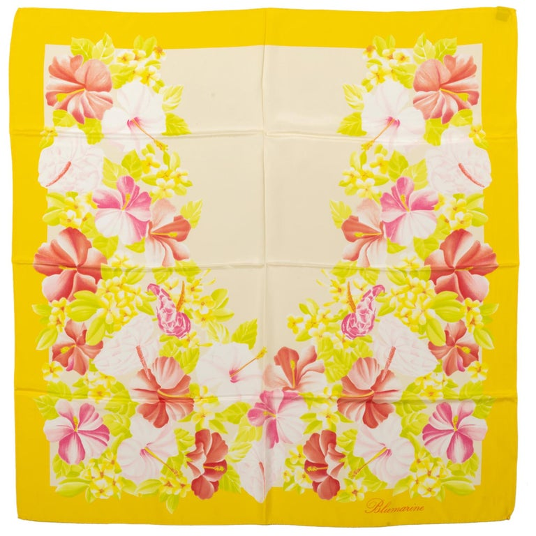 Blumarine Yellow Hibiscus Silk Scarf For Sale