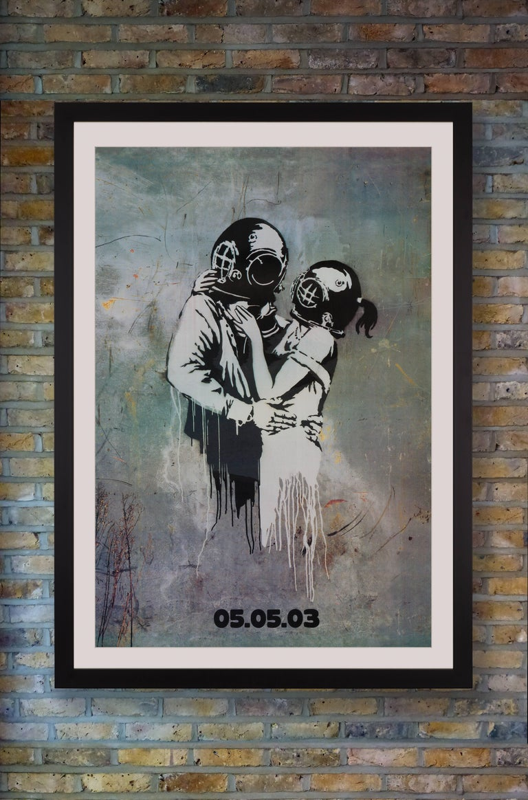 An oversized UK promotional poster by anonymous street artist Banksy for the 2003 release of Britpop band Blur's seventh studio album 'Think Tank.' In a rare foray into commercial work for the elusive Banksy, he created designs for the entire