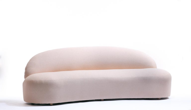 American Blush Pink Boucle Sculptural Sofa by Directional, circa 1980 For Sale