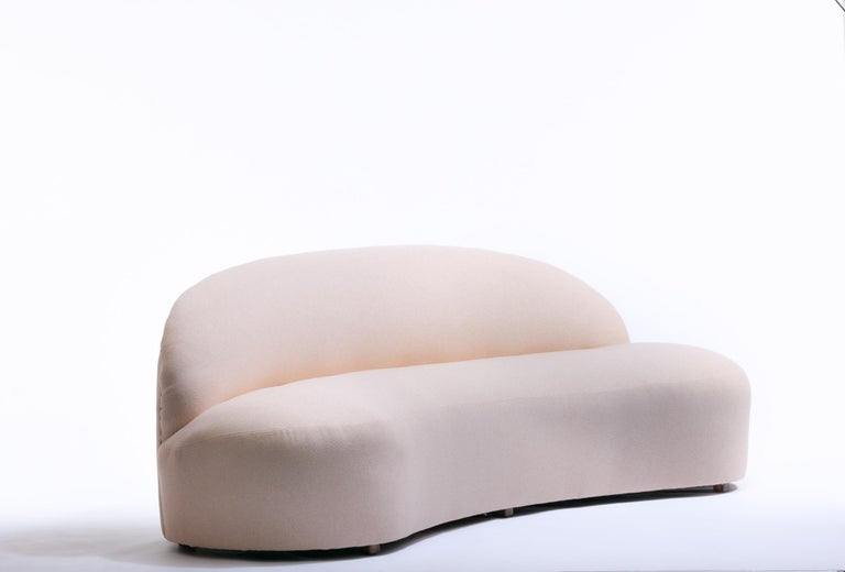 Blush Pink Boucle Sculptural Sofa by Directional, circa 1980 In Good Condition For Sale In Saint Louis, MO