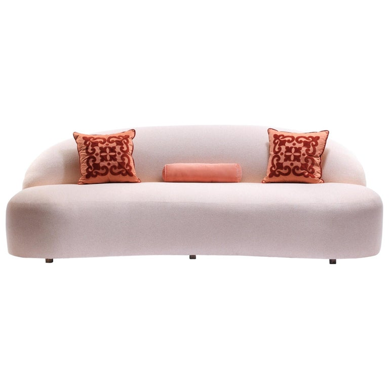 Blush Pink Boucle Sculptural Sofa by Directional, circa 1980 For Sale