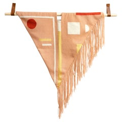 Blush Fringe Hand Embroidered Geometric Modern Tapestry Wall Hanging