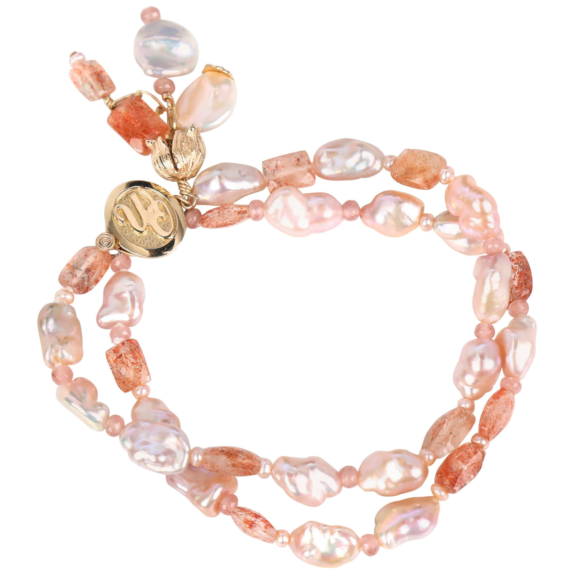 White Orchid Studio A Pocket of Sunshine Pearls Sunstone Gold Bracelet