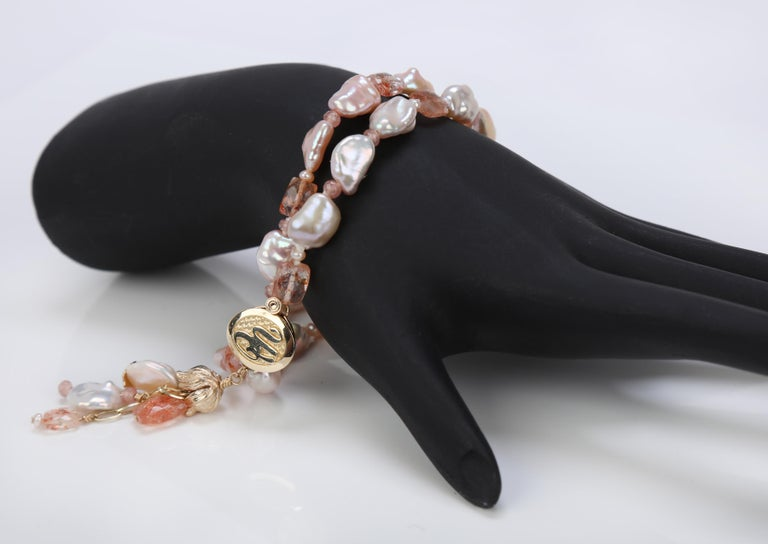Tassel Bracelet with Blush Keshi Pearls, Sunstone, Rhodochrosite, Gold  In New Condition For Sale In Athens, GA
