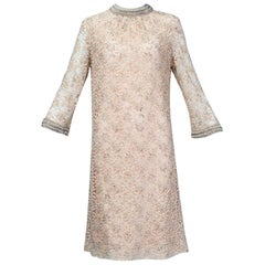Blush Pink A-Line Babydoll Dress with Pearl Collar and Cuffs, 1960s