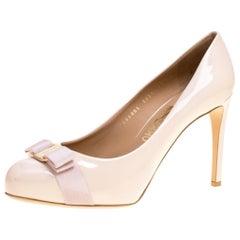 Blush Pink Patent Leather Carla Vara Bow Pumps Size 41.5