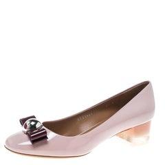 Blush Pink Patent Leather Fiammetta Plexiglass Heel Pumps Size 39