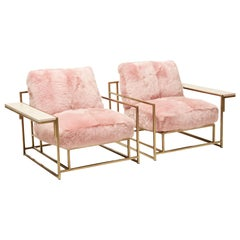 Blush Pink Shearling and Antique Brass Armchair Pair