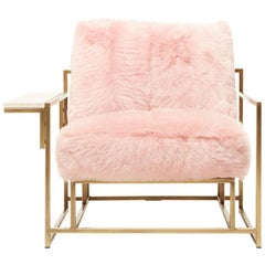 Blush Pink Shearling & Antique Brass Armchair with Wing Table