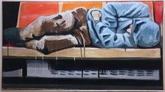 Homeward by street artist BLUSTERONE, figurative sleeping NYC subway commuter