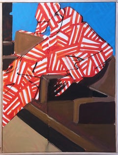 Now by street artist BLUSTERONE, figurative subway commuter with bold pattern