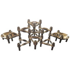 BMF Modular Candle-Holders and Trays 12 Pcs by Stoffi Nagel 1970s Germany