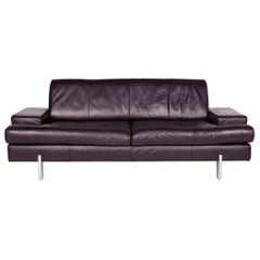 BMP Rolf Benz Leather Sofa Aubergine Three-Seat Couch