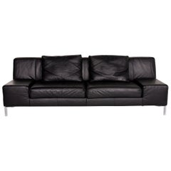 BMP Rolf Benz Leather Sofa Black Three-Seat Couch