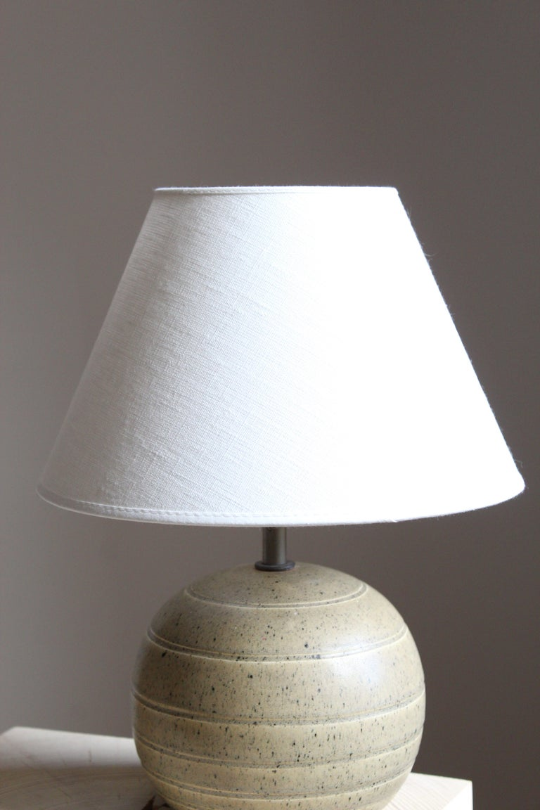 Art Deco Bo Fajans, Table Lamp, Grey Glazed Stoneware, Sweden, 1930s For Sale