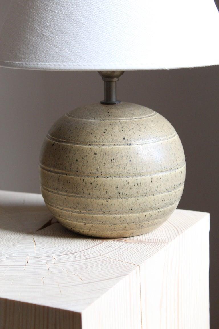 Swedish Bo Fajans, Table Lamp, Grey Glazed Stoneware, Sweden, 1930s For Sale