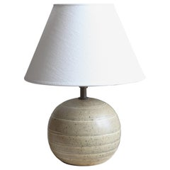 Bo Fajans, Table Lamp, Grey Glazed Stoneware, Sweden, 1930s