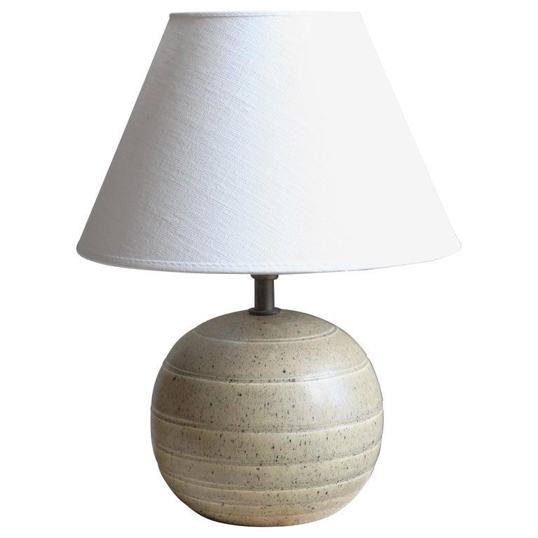 Bo Fajans, Table Lamp, Grey Glazed Stoneware, Sweden, 1930s For Sale