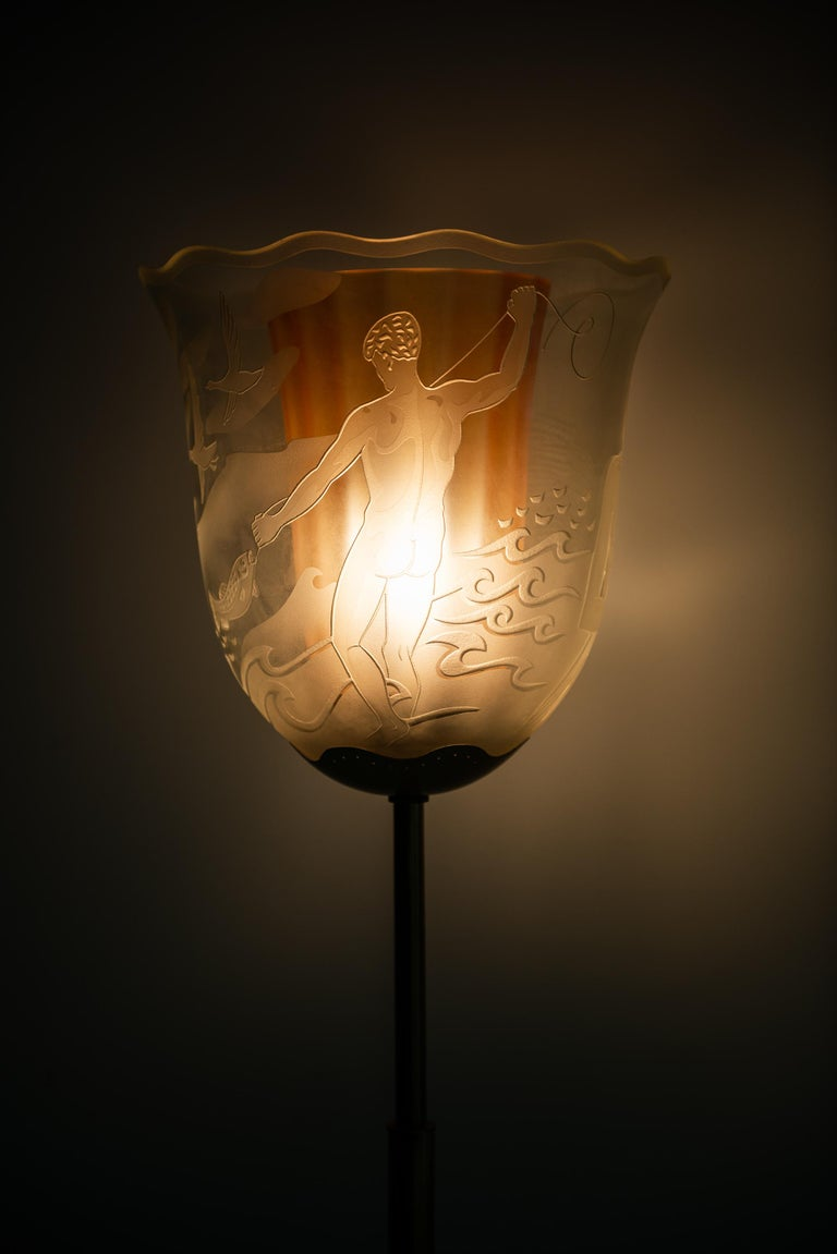 Mid-20th Century Bo Notini Floor Lamp Model No G4 Produced by Glössner & Co. in Sweden For Sale