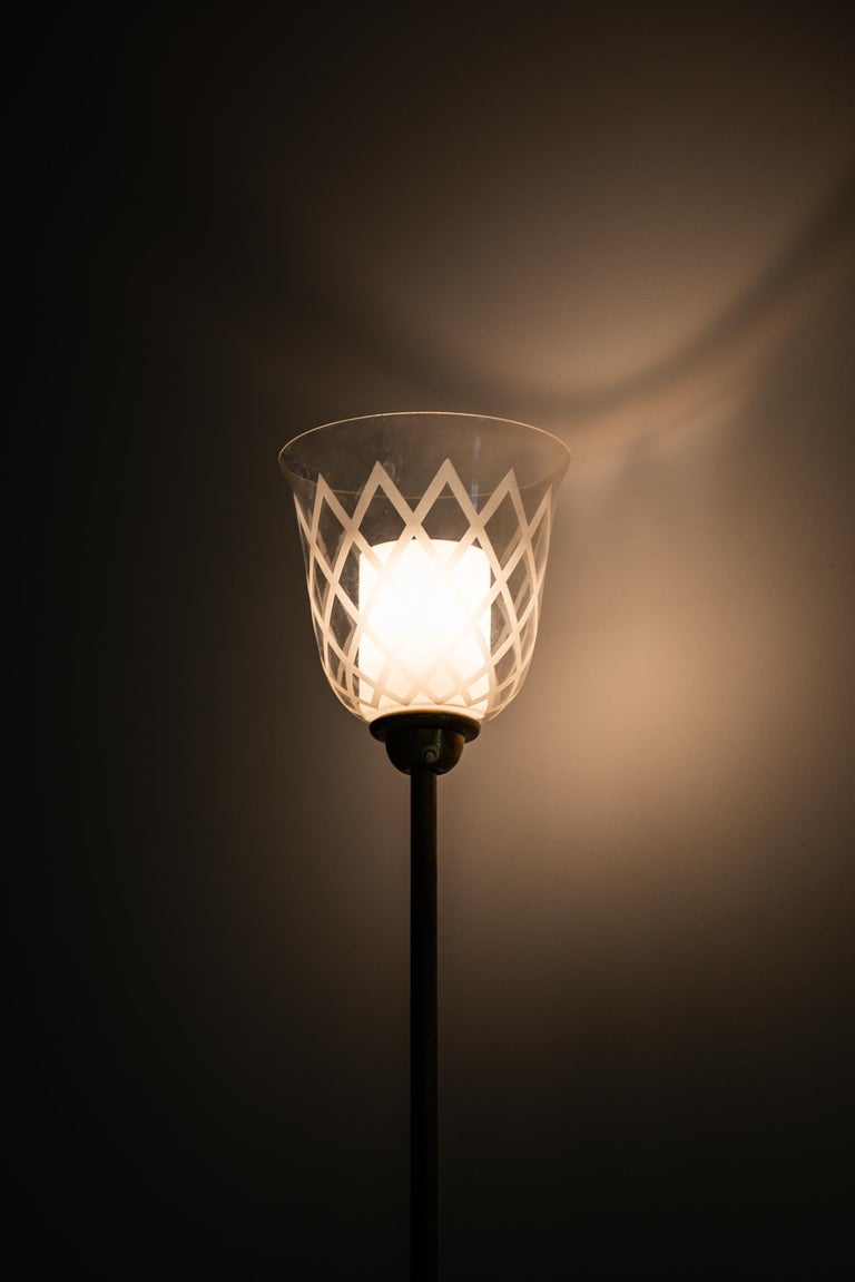 Mid-20th Century Bo Notini Floor Lamp Produced by Glössner & Co. in Sweden For Sale