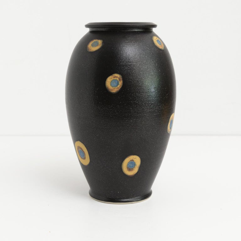 Scandinavian Bo Sculman, Sweden Unique Vase in Stoneware from His Own Workshop, Glazed Black For Sale