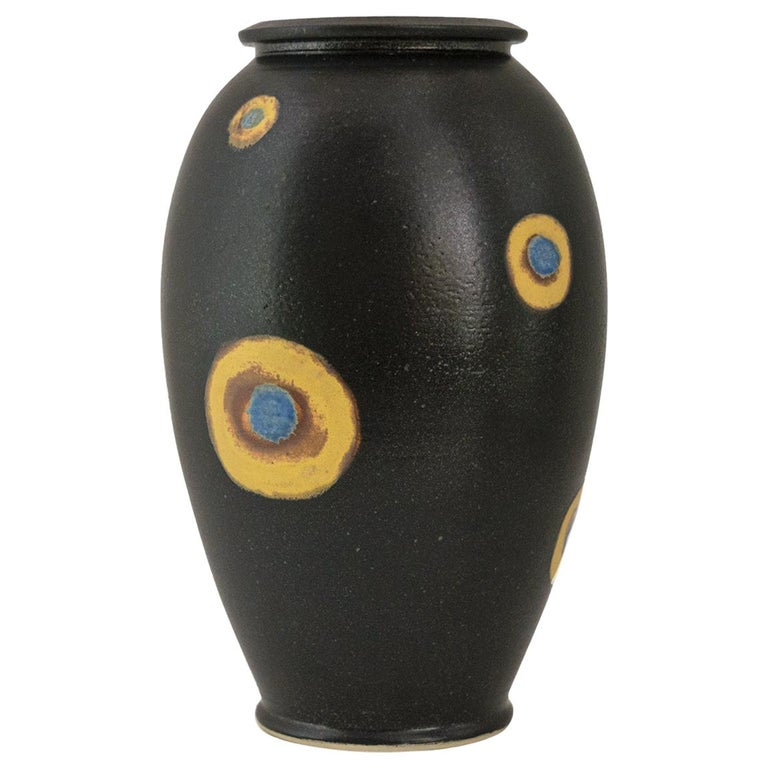 Bo Sculman, Sweden Unique Vase in Stoneware from His Own Workshop, Glazed Black For Sale