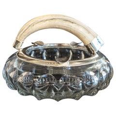 Boar Tooth Silver Rim Ash Tray, circa 1920