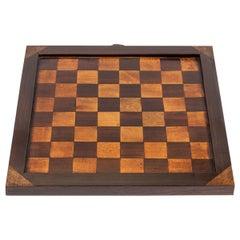 19th Century Antique Inlaid Wood Checkerboard