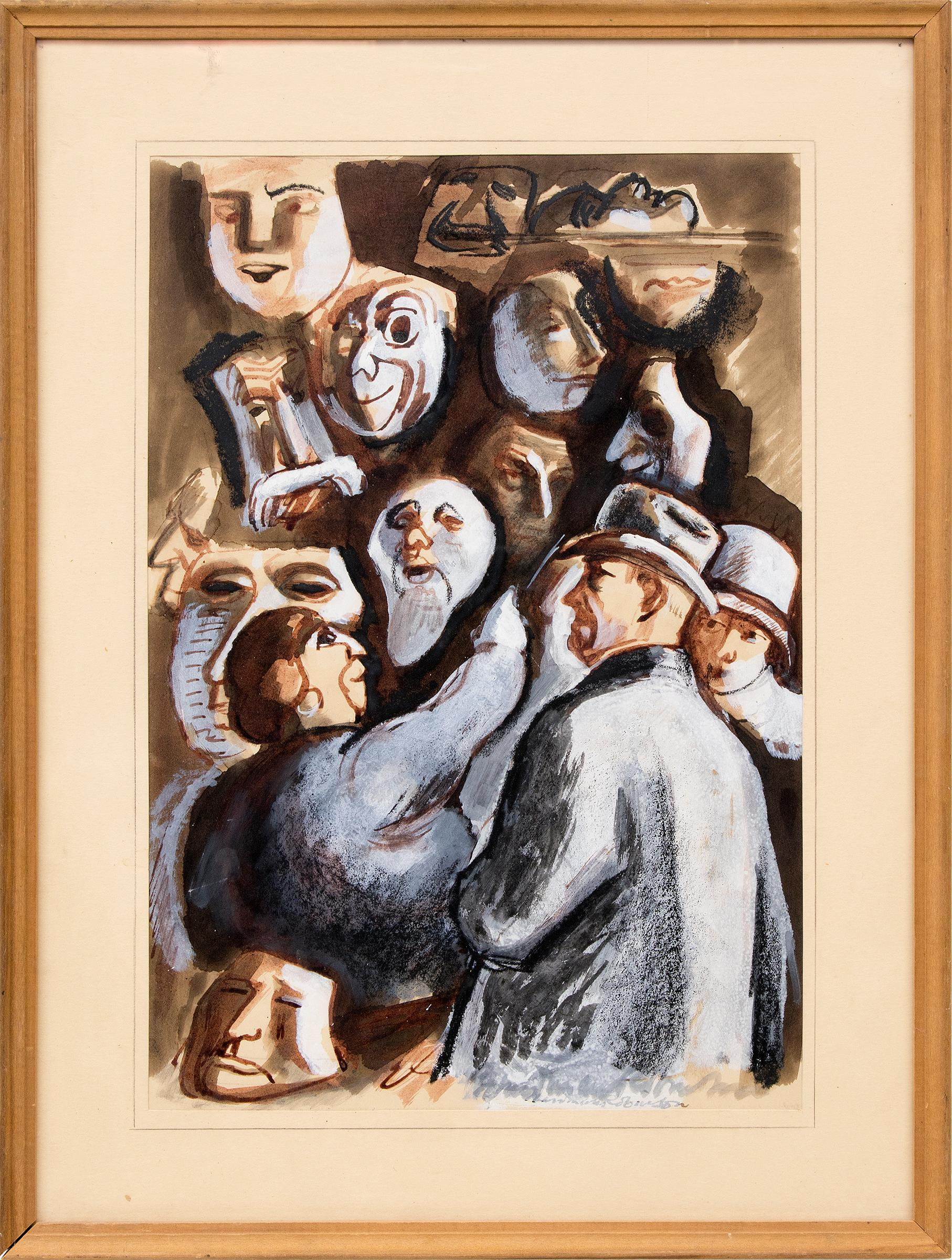 The Vendor of Masques (Masks) Vintage 1930s Modernist Painting Brown White Black