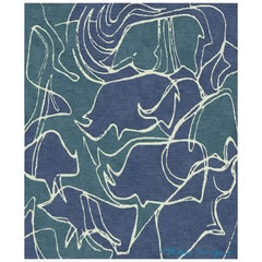 Boarrio Aquamarina - Interesting Ornament Hand Knotted Wool Bamboo Silk Rug