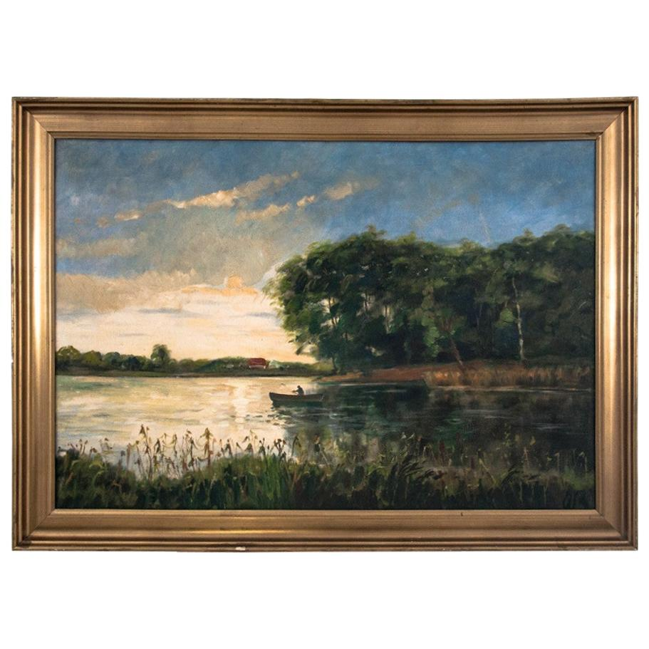 """""""Boat on the lake"""" Painting"""