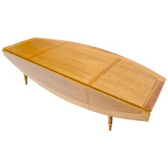 Boat Shape Large Drop Leaf Expandable Coffee Table