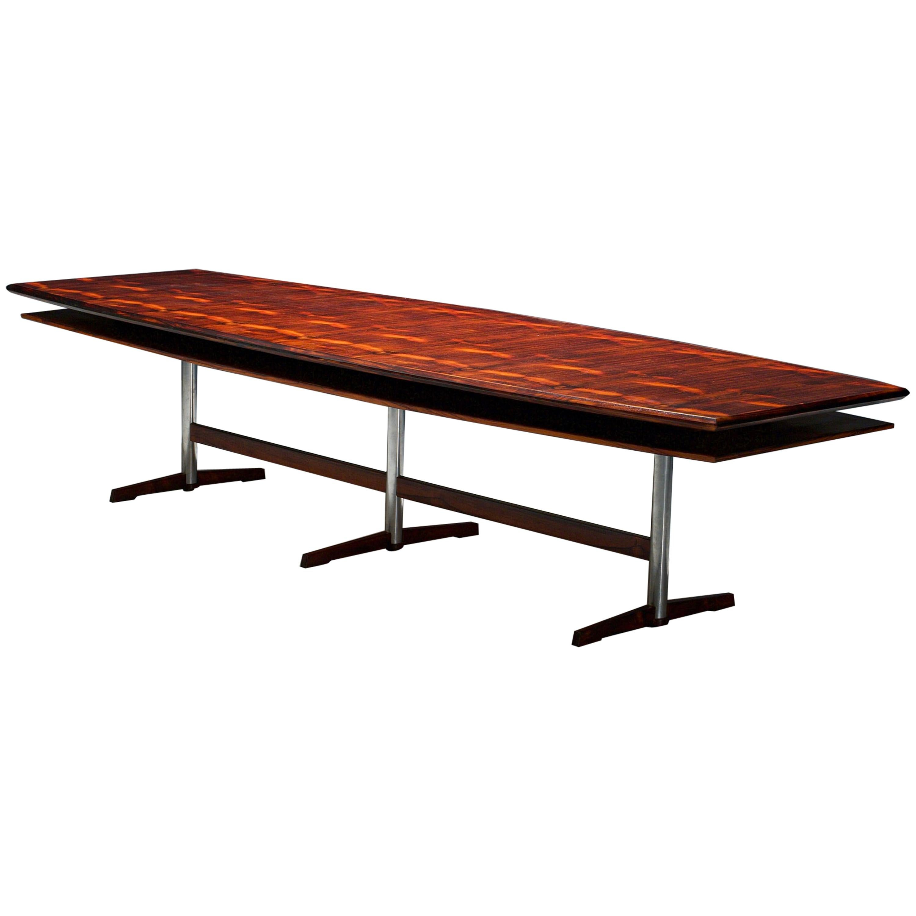 Boat-shaped Dining- / Conference Table in Rosewood and Metal, Denmark, 1960s