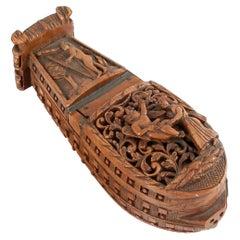 Boat Shapped Snuff Box or Box, Boxwood, 18th Century
