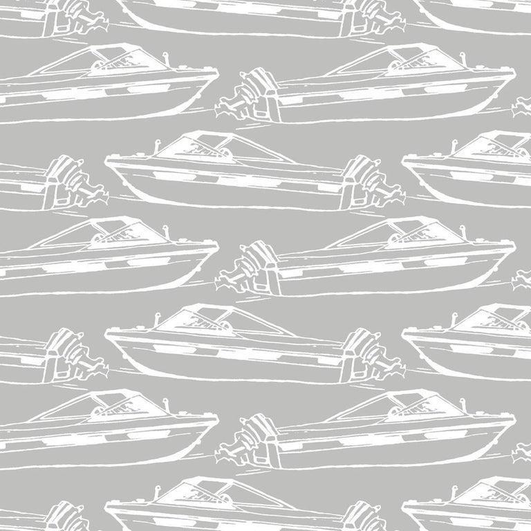 Modern Boating Designer Wallpaper in Dolphin 'White on Grey' For Sale