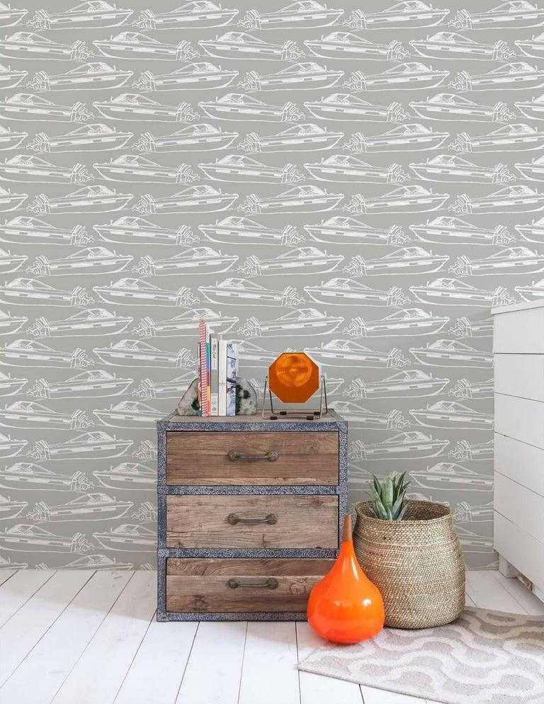 American Boating Designer Wallpaper in Dolphin 'White on Grey' For Sale