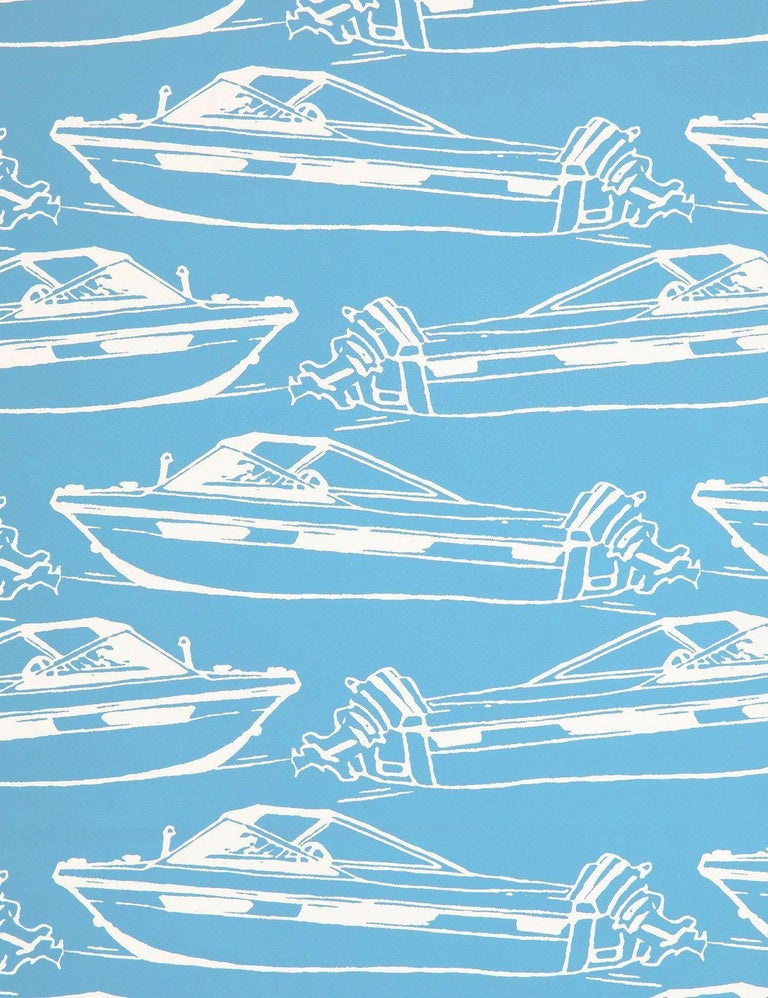 Modern Boating Designer Wallpaper in Pool 'Sky Blue and White' For Sale